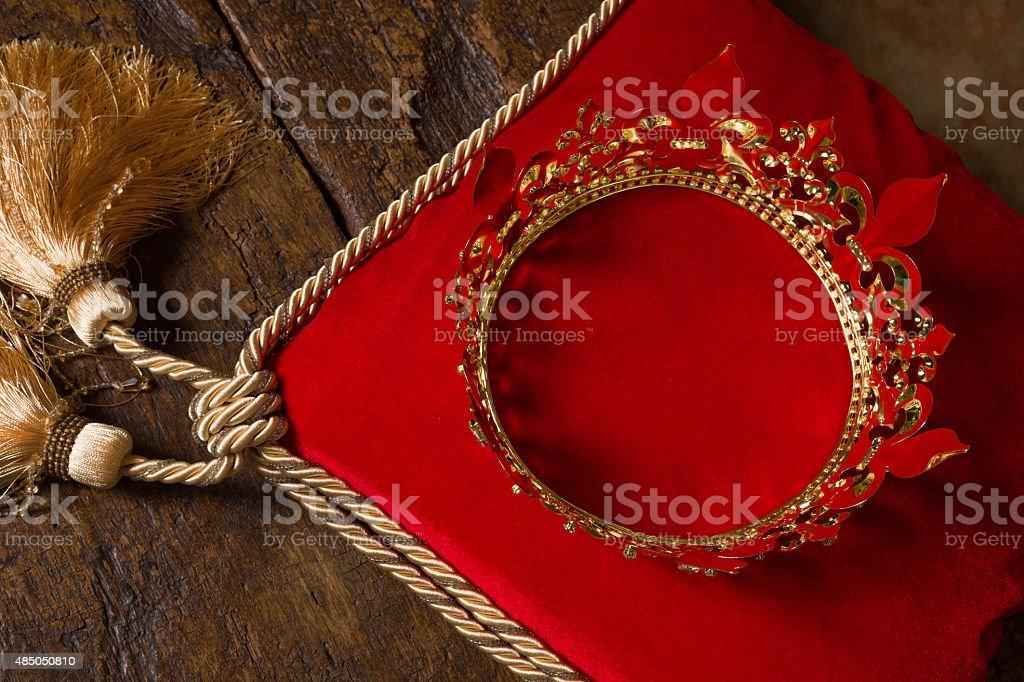 King's crown on red velvet stock photo