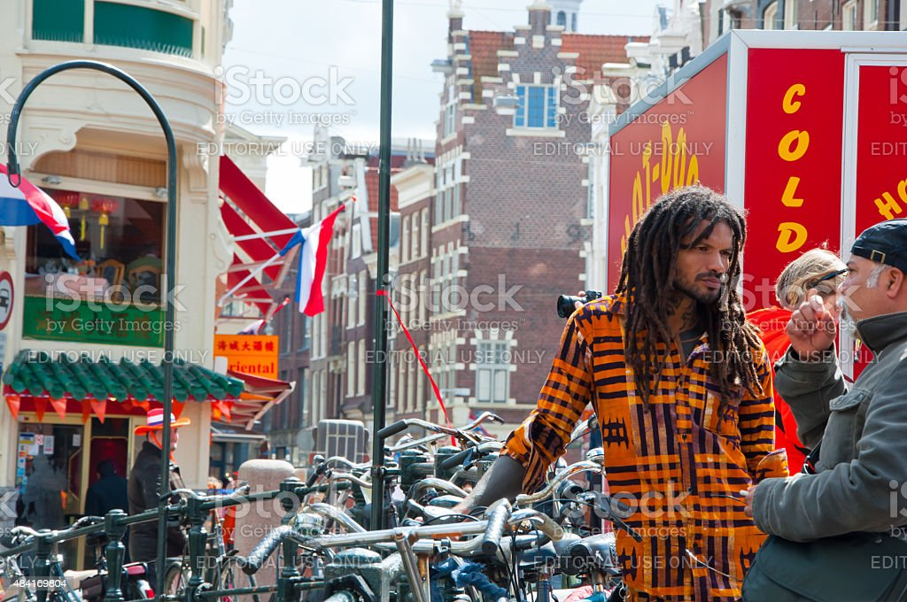 King's Day around red-light district. Amsterdam. stock photo