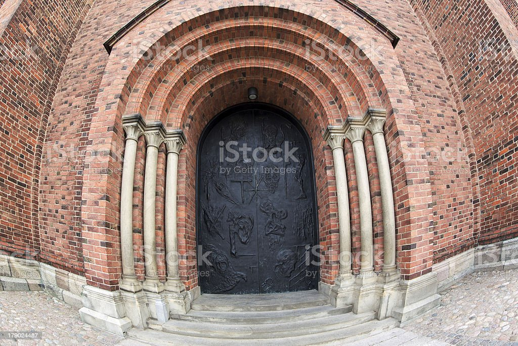Kings Gate to Roskilde Cathedral stock photo