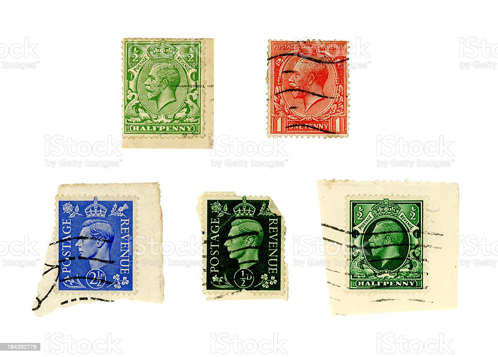 Kings George V and VI on postage stamps royalty-free stock photo
