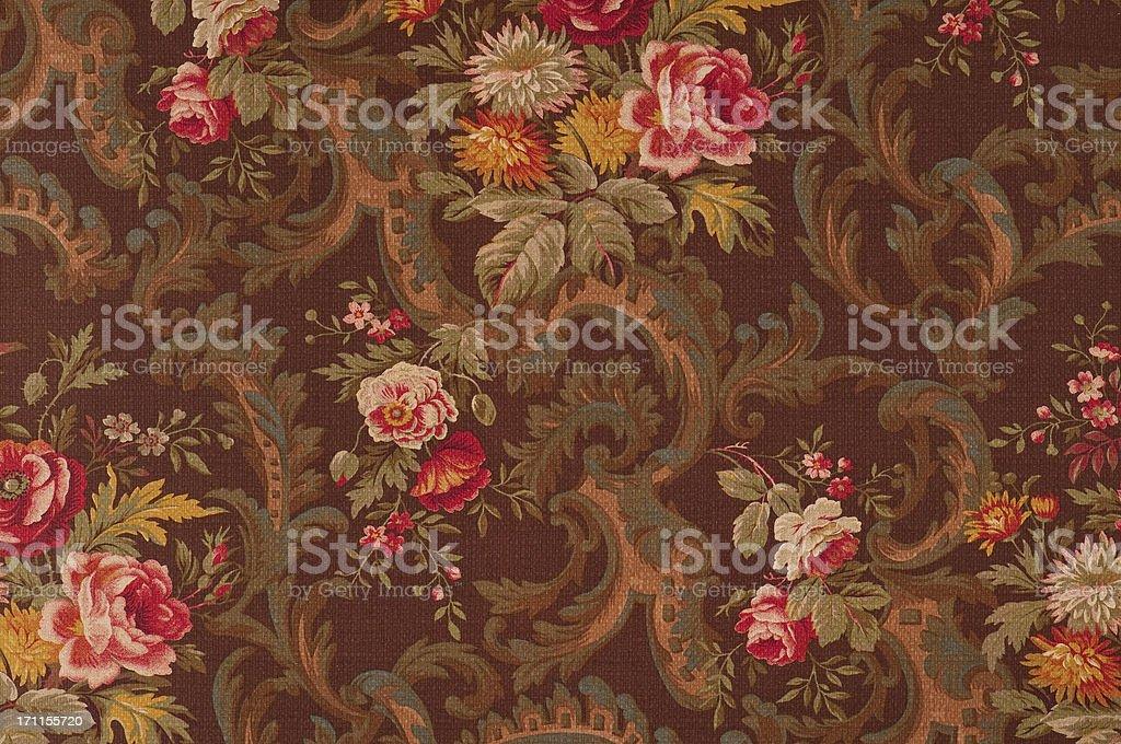 King's Muir Brown Medium Antique Floral Fabric stock photo
