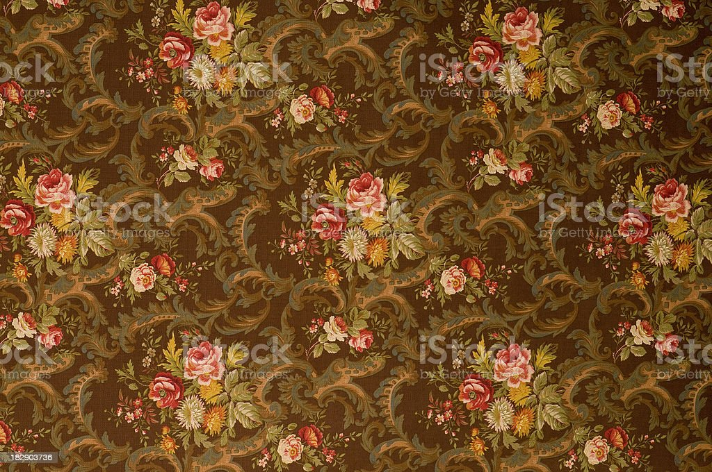 Kings Muir Brown Medium Antique Floral Fabric stock photo