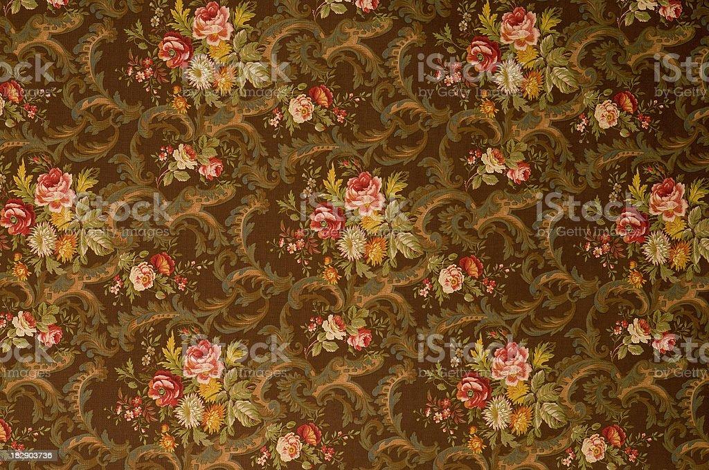 Kings Muir Brown Medium Antique Floral Fabric stock photo
