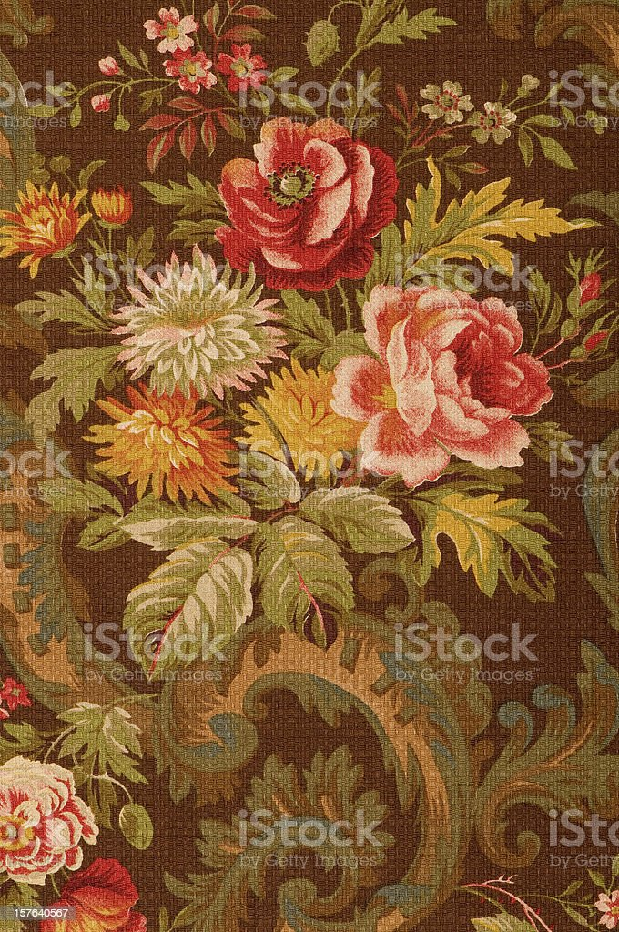 Kings Muir Close Up Antique Floral Fabric stock photo