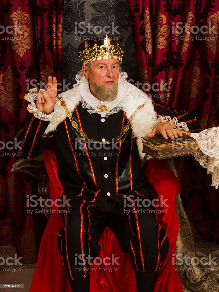 King's oath on the bible stock photo