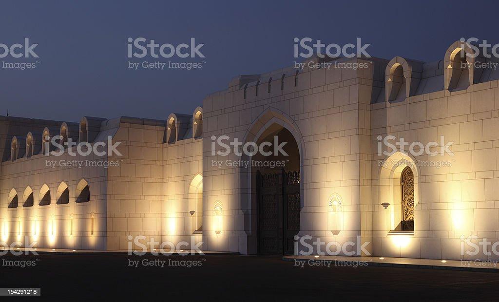 Kings Palace at night, Muscat Oman royalty-free stock photo