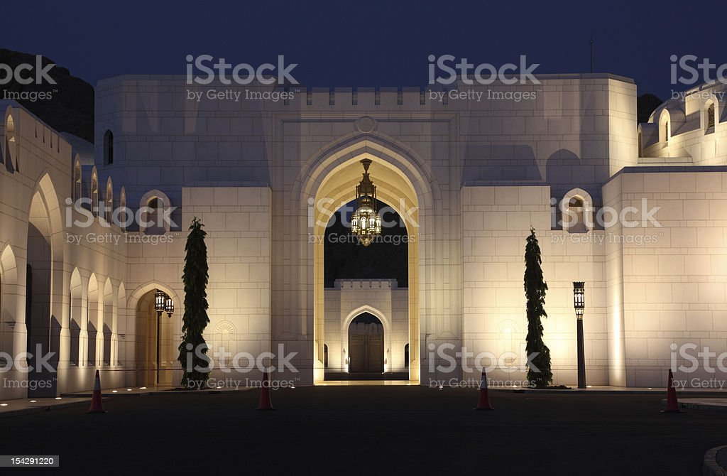 Kings Palace at night, Muscat stock photo