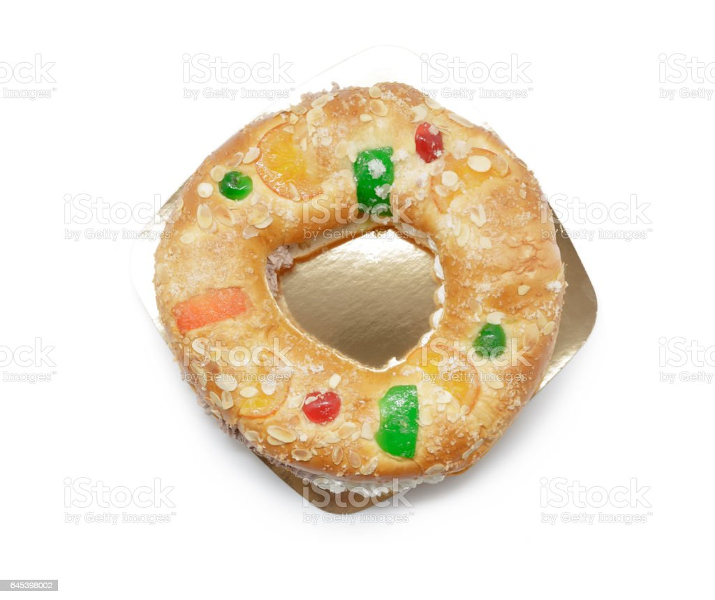 Kings ring cake isolated on white . Traditional Spanish pastry 'Roscon de reyes' stock photo