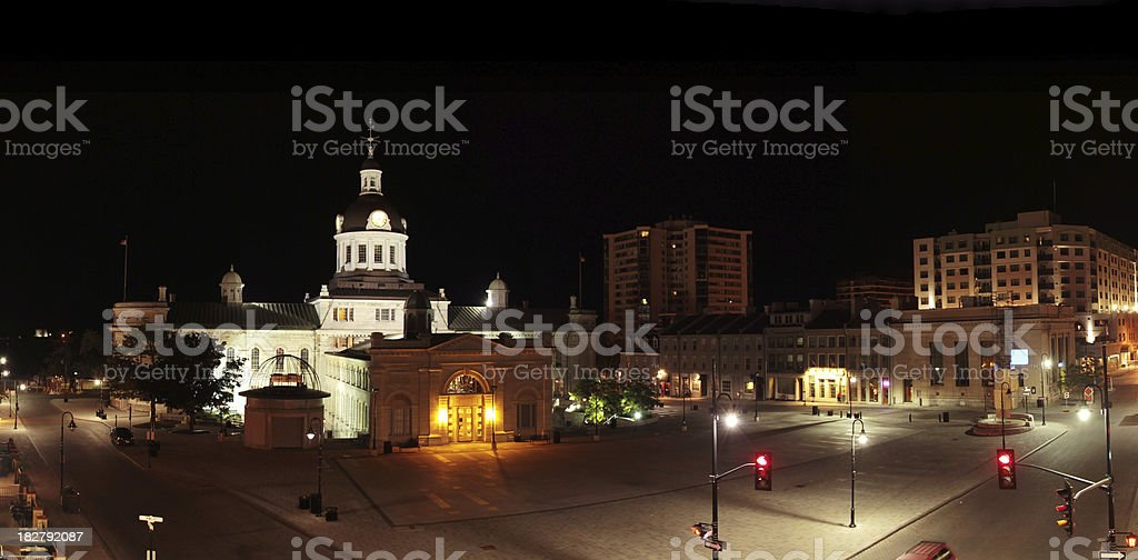 Kingston City Hall and Market Square at Night royalty-free stock photo
