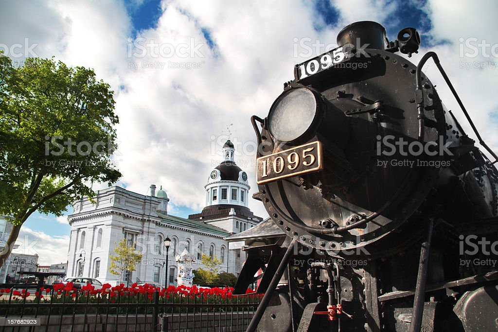 Kingston Downtown with Tulips and Train stock photo