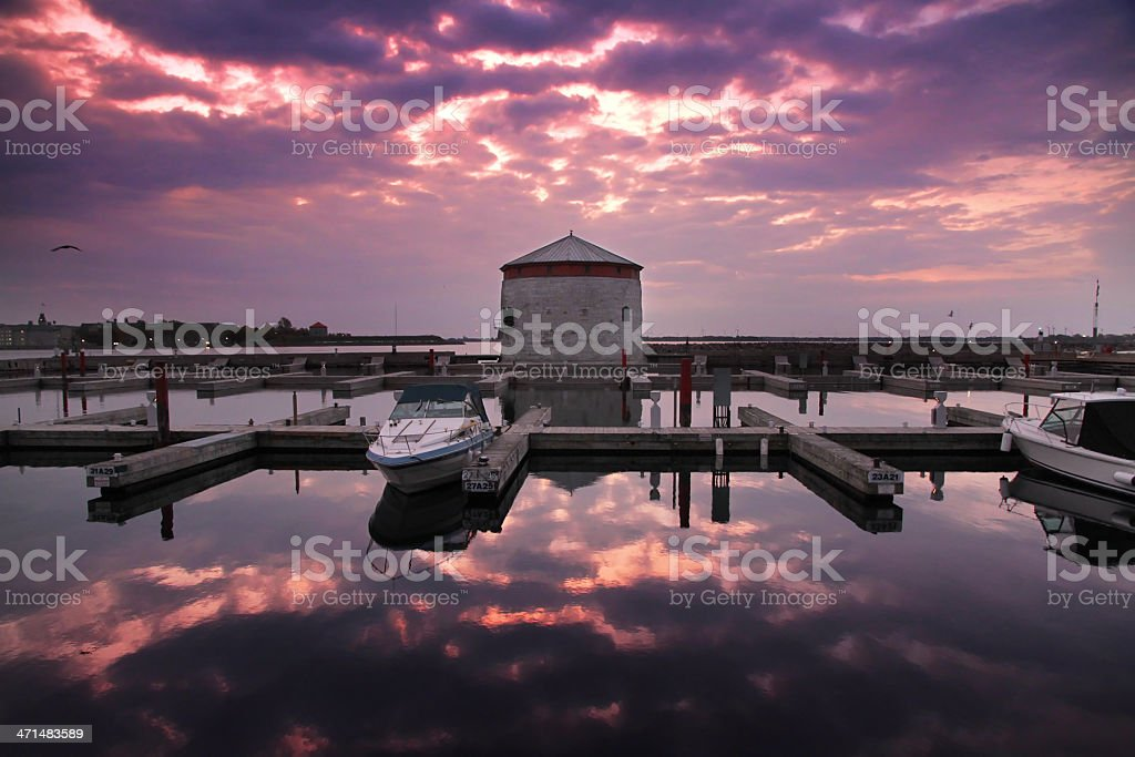 Kingston Harbour and Tower at Sunrise stock photo
