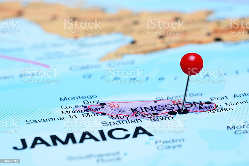 Kingston pinned on a map of America stock photo