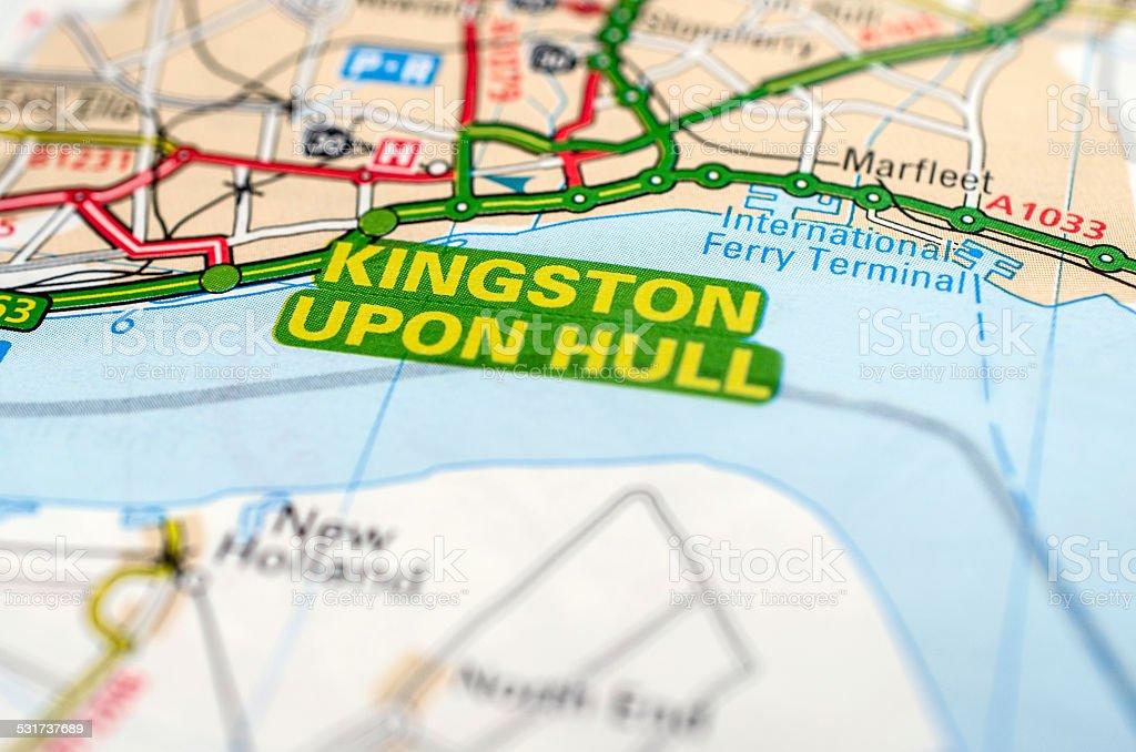 Kingston upon Hull on road map stock photo