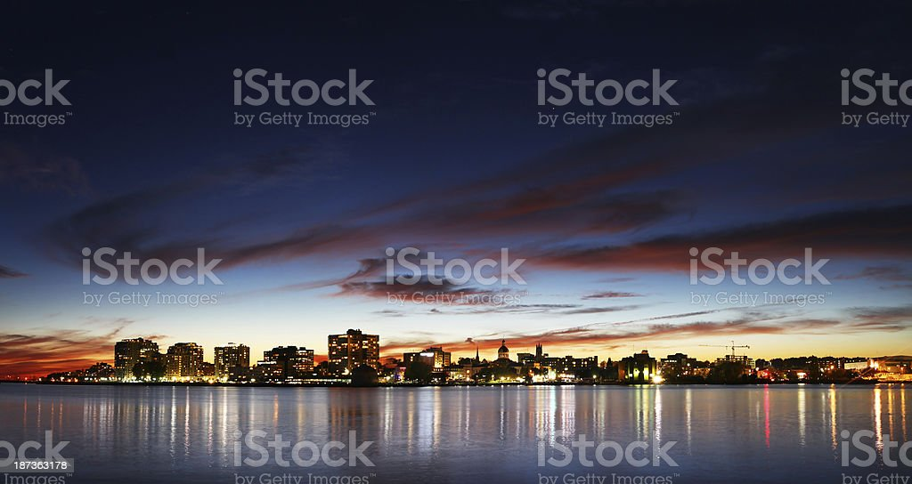Kingston Waterfront at Night stock photo