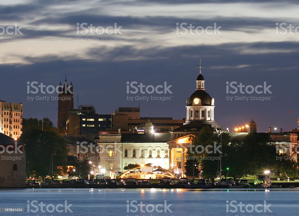Kingston waterfront at night with cloudy sky over the church stock photo
