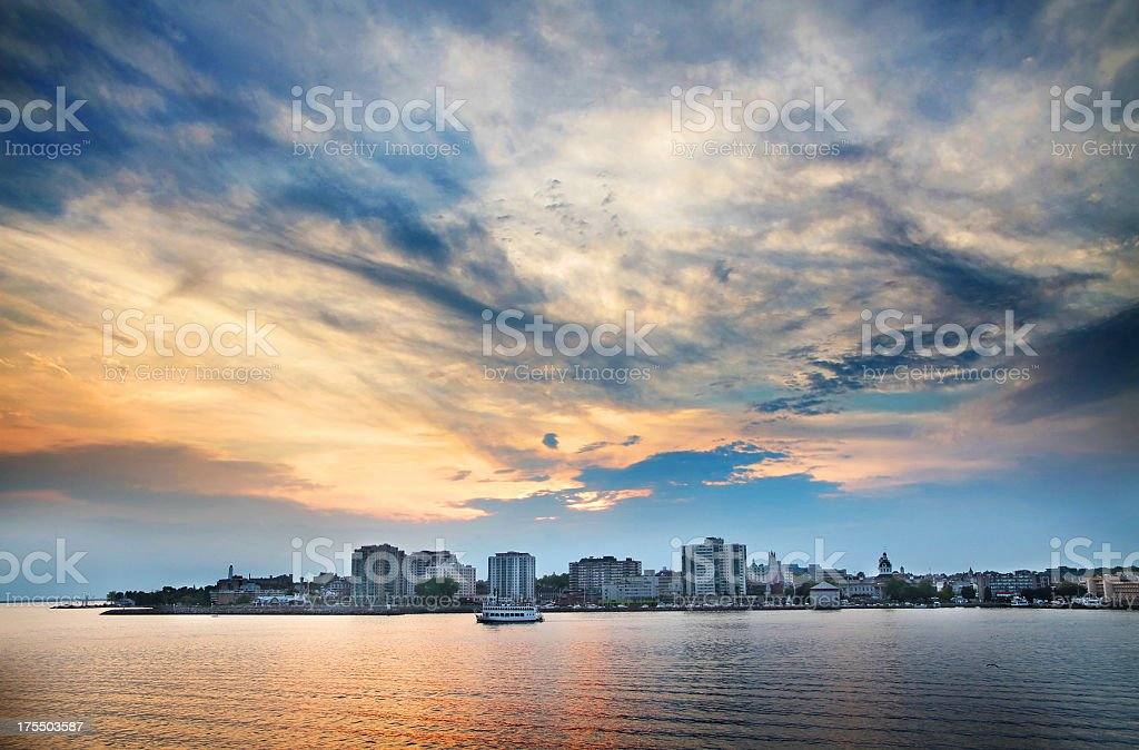 Kingston Waterfront with golden blue sky. stock photo