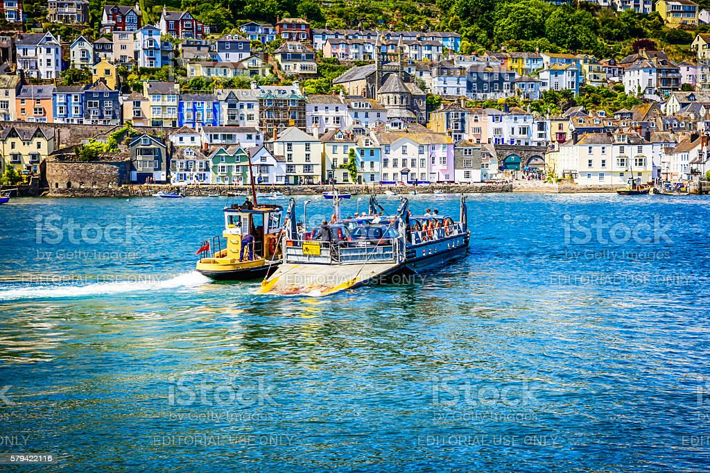 Kingswear to Dartmouth ferry sailing across the River Dart, UK stock photo