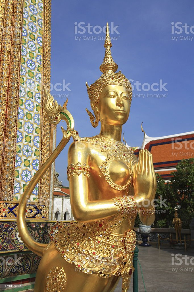 Kinna ree in Sawasdee action at Grand Palace Bangkok, Thailand royalty-free stock photo