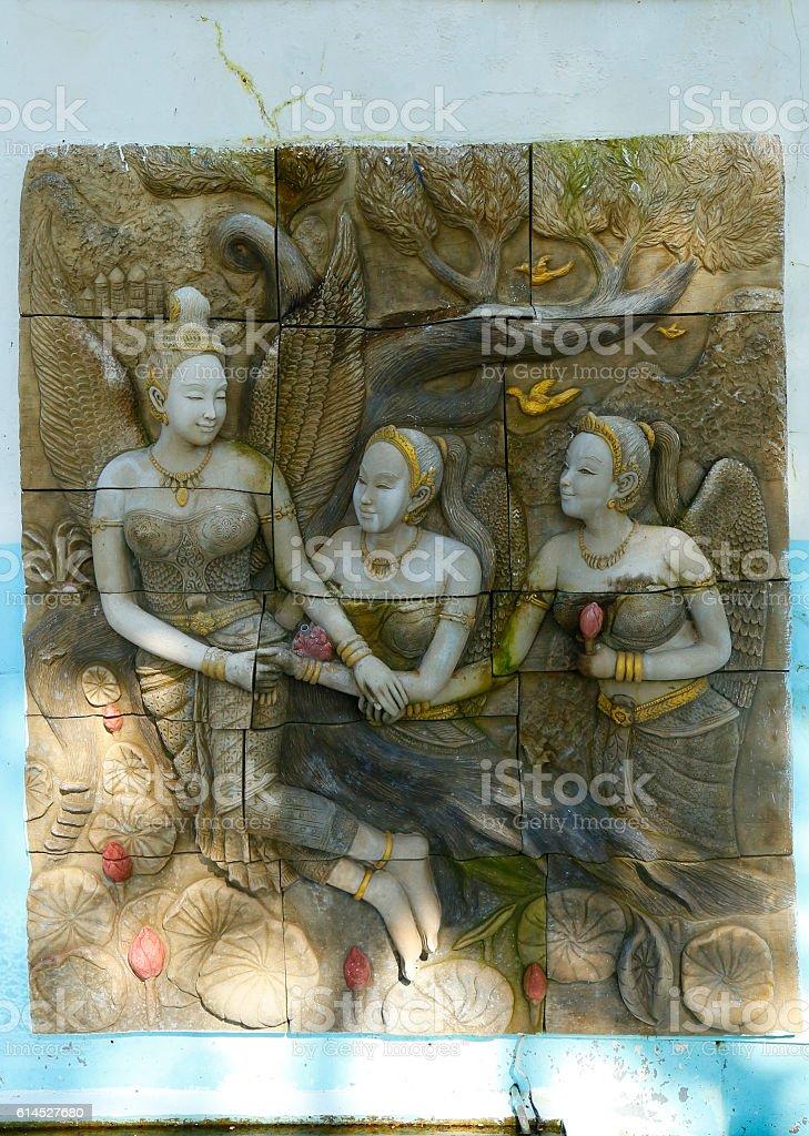 Kinnaree Angel Sandstone stock photo