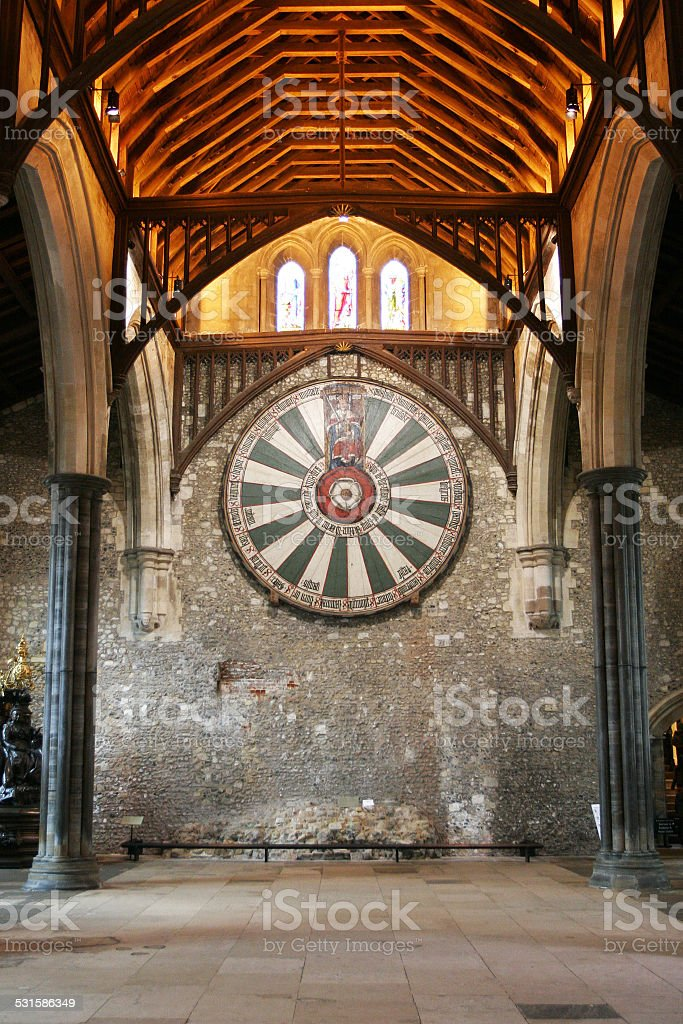 Kinng Arthur's round table on the wall in Winchester stock photo