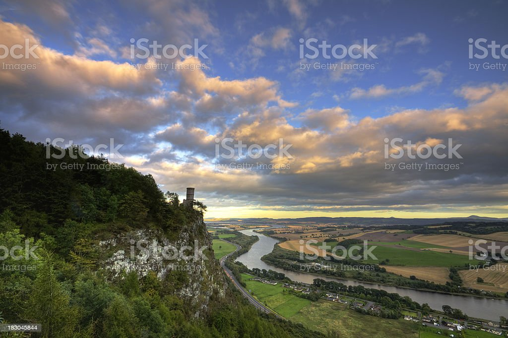 Kinnoul Tower overlooking Perthshire landscape in evening light. stock photo