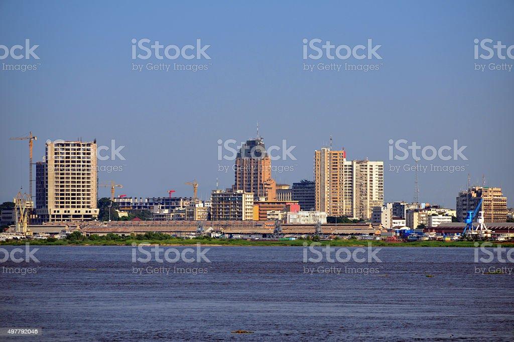 Kinshasa central business district, Congo, skyline stock photo