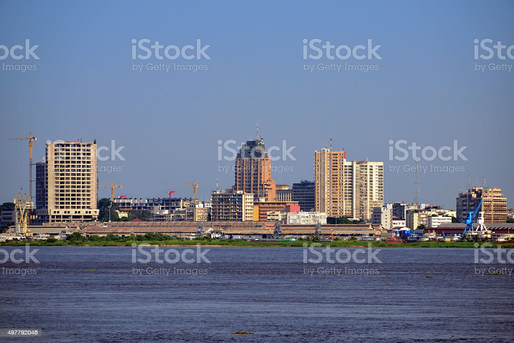 Kinshasa central business district, Congo, skyline stock photo