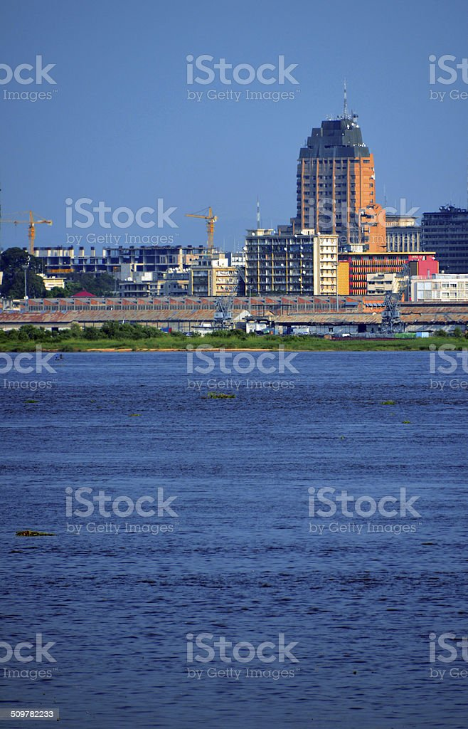 Kinshasa, D.R. Congo: Gombe district riverfront stock photo