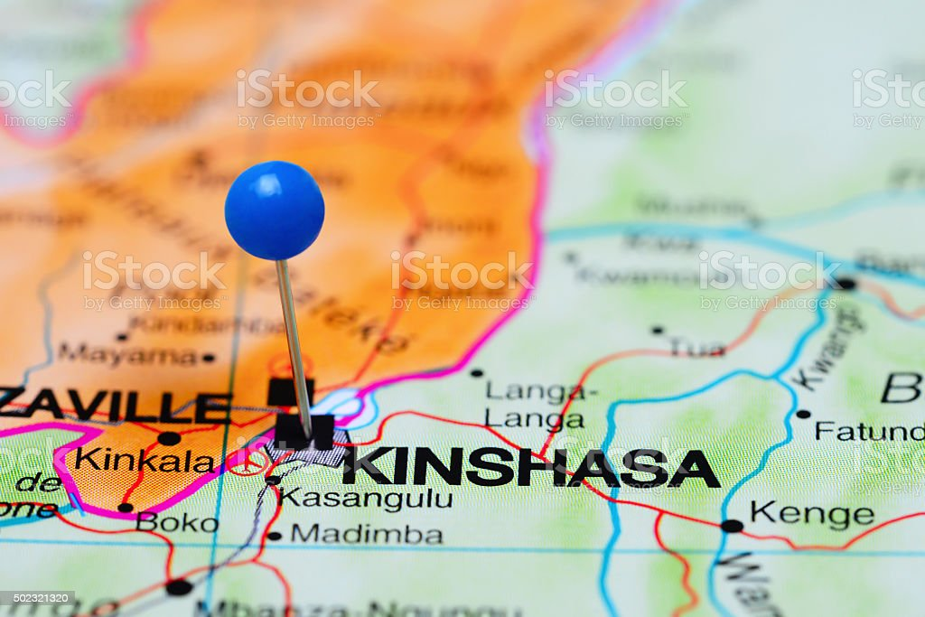 Kinshasa pinned on a map of Africa stock photo
