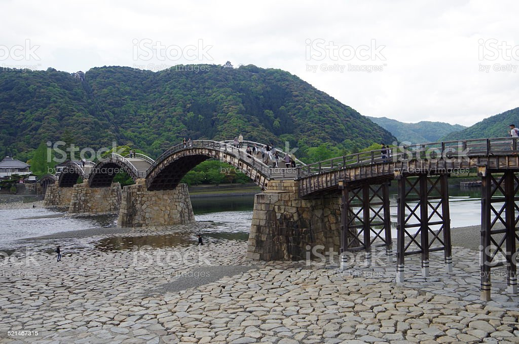 Kintai Bridge,beautiful bridge of wooden. stock photo