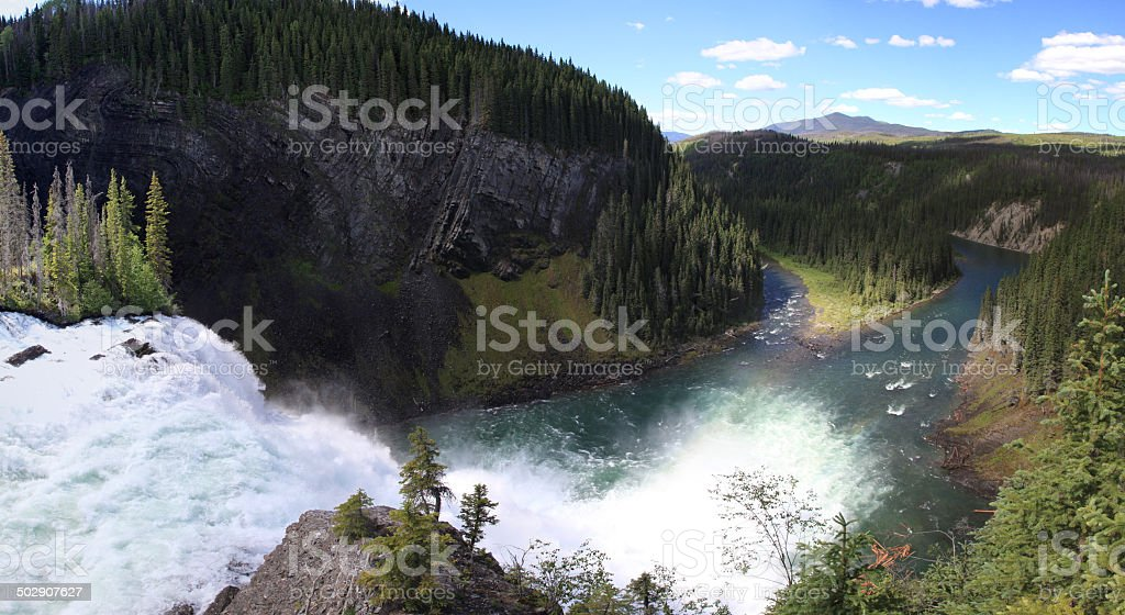 Kinuseo Falls on the Murray River, Monkman Provincial Park, BC. stock photo