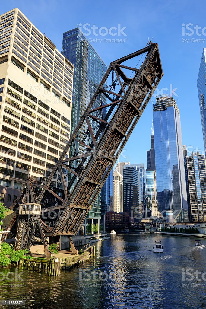 Kinzie Street Railroad Bridge, Chicago stock photo