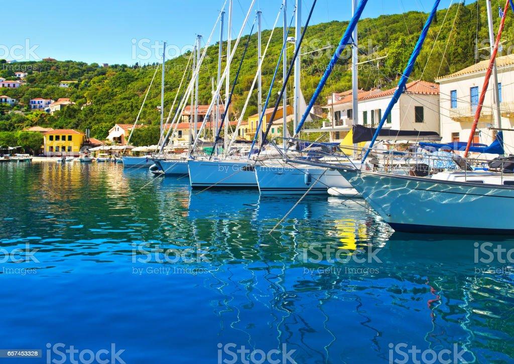 Kioni port at Ithaca Greece stock photo