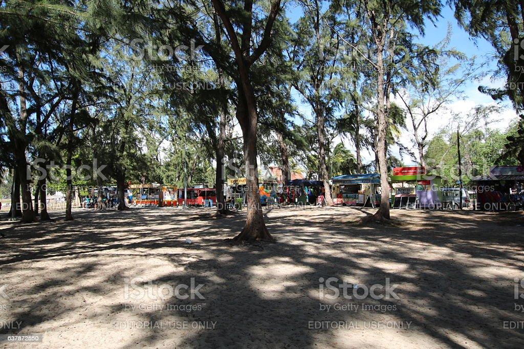 Kiosk at the Beach of Flic en Flac, Mauritius, Africa stock photo