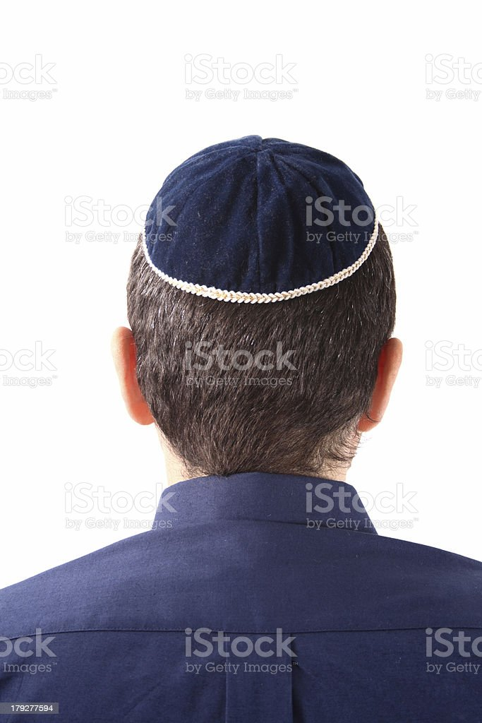 Kippah on head stock photo