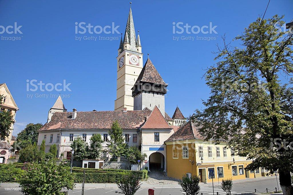 Kirchen castle in Medias, Transylvania, Romania stock photo