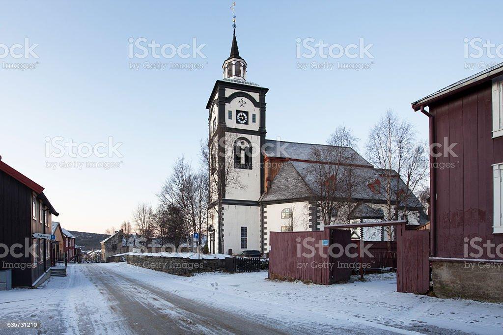 Kirhe Bergstadens Ziir in Roros stock photo