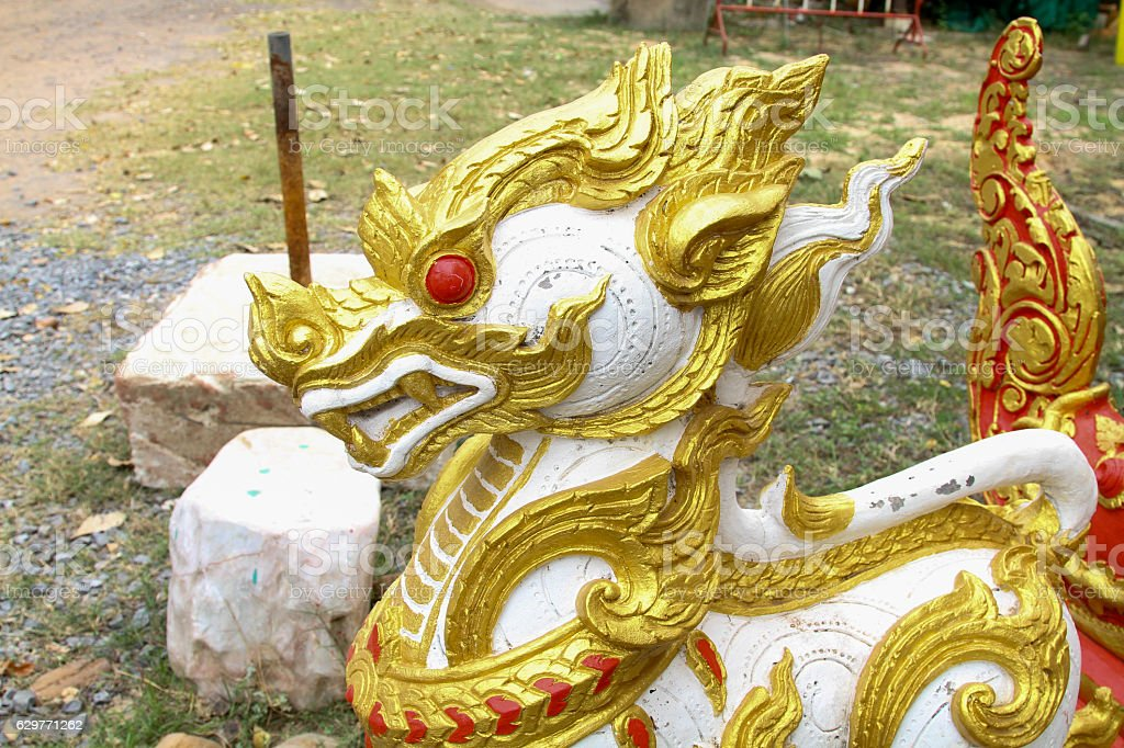 Kirin statue located inside the temple Thailand. stock photo