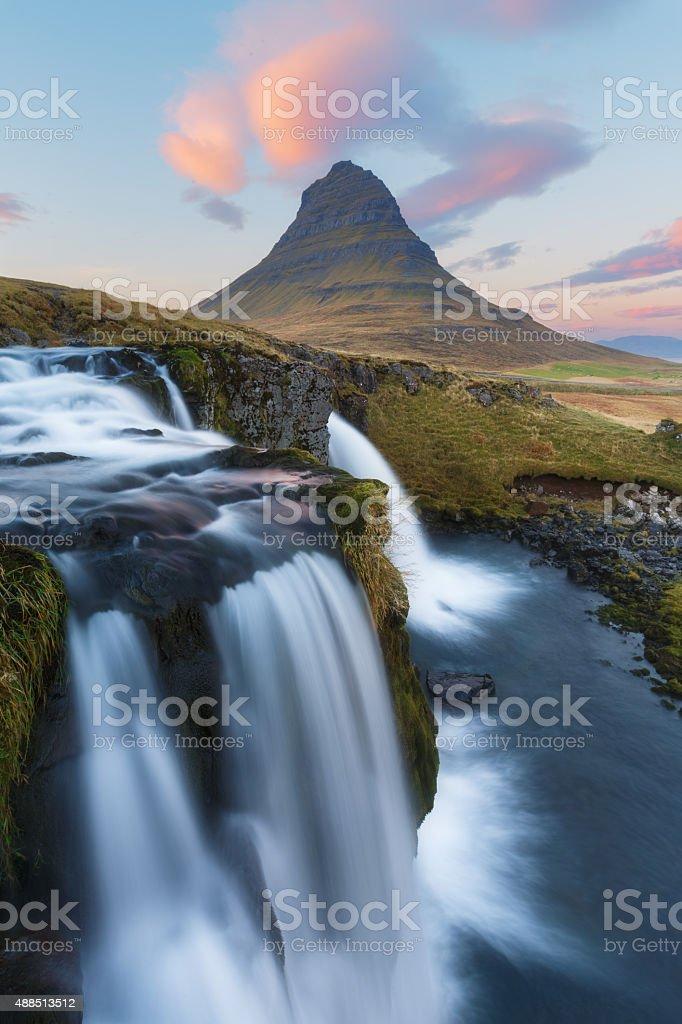 Kirkjufell at sunset, Iceland stock photo