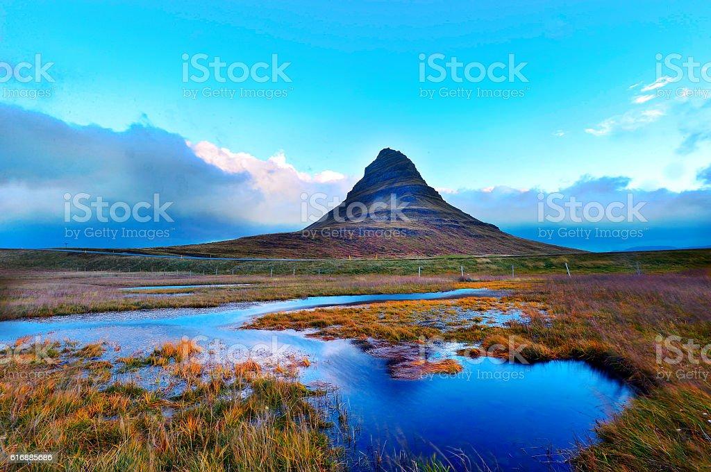 Kirkjufell mountain stock photo