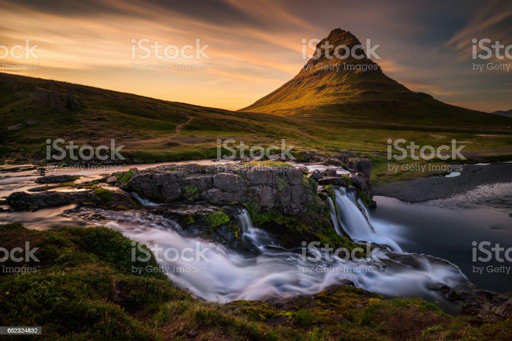 Kirkjufell waterfalls stock photo
