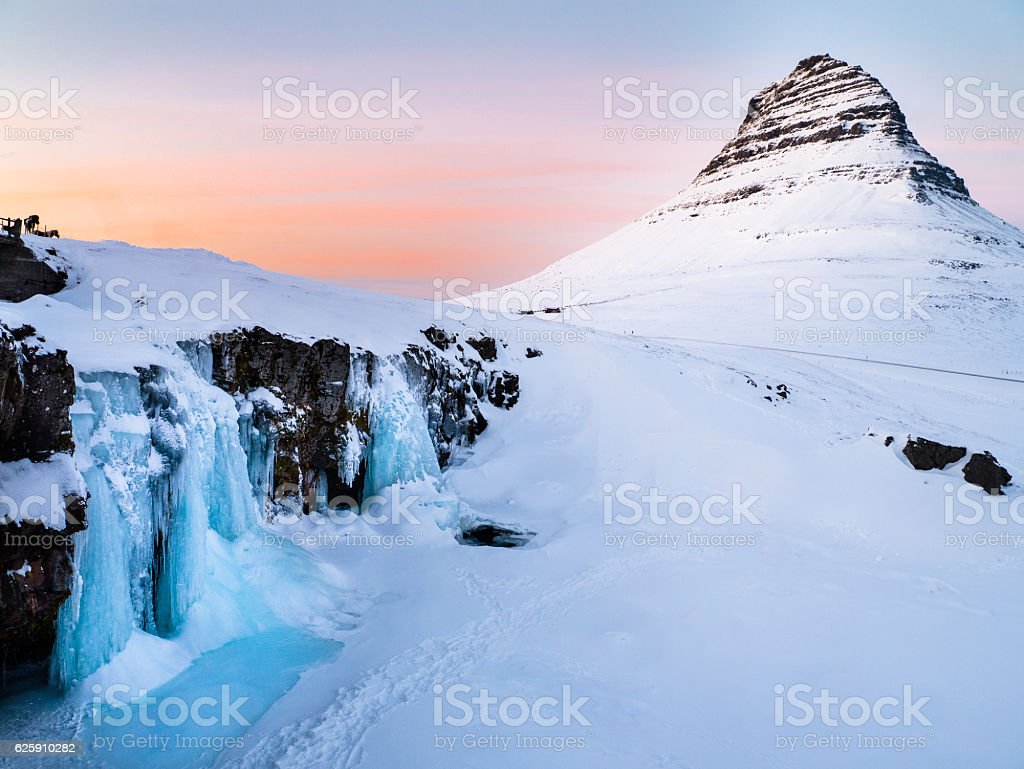 Kirkjufell - Winter in Iceland stock photo