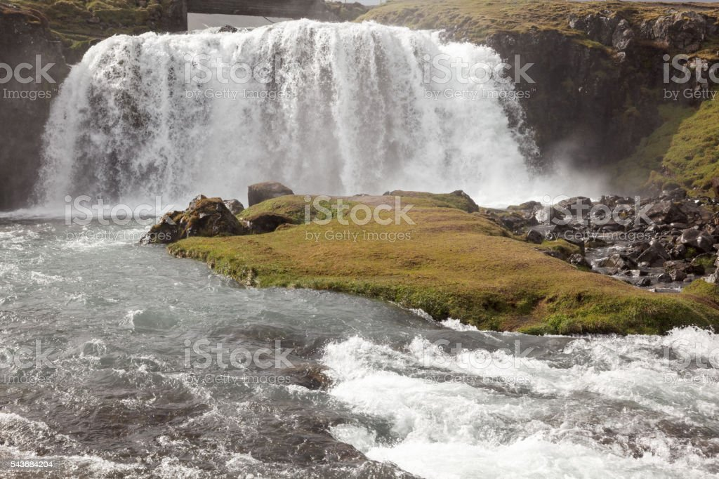 Kirkjufellfossi in Iceland, a typical waterfall stock photo