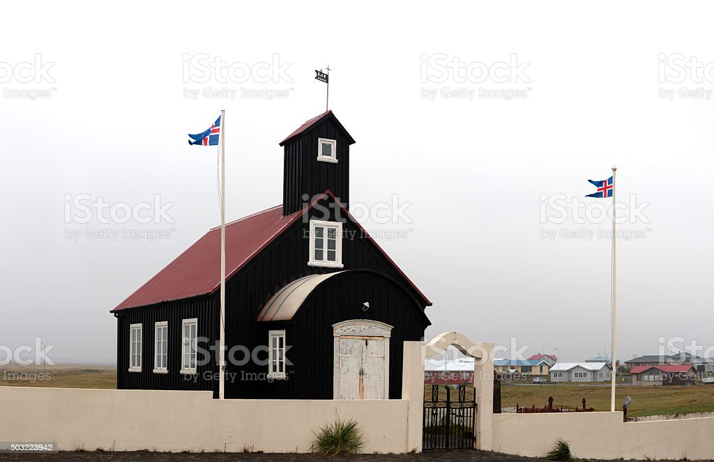 Kirkjuvogskirkja, one of the many Icelandic churches. stock photo
