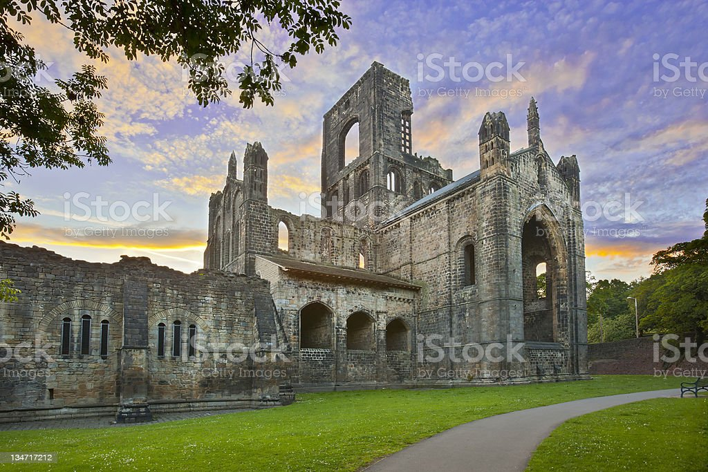 Kirkstall abbey at sunset, Leeds stock photo