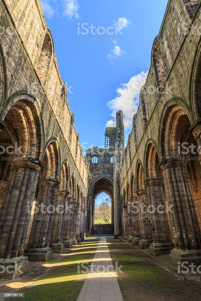 Kirkstall Abbey in Leeds stock photo
