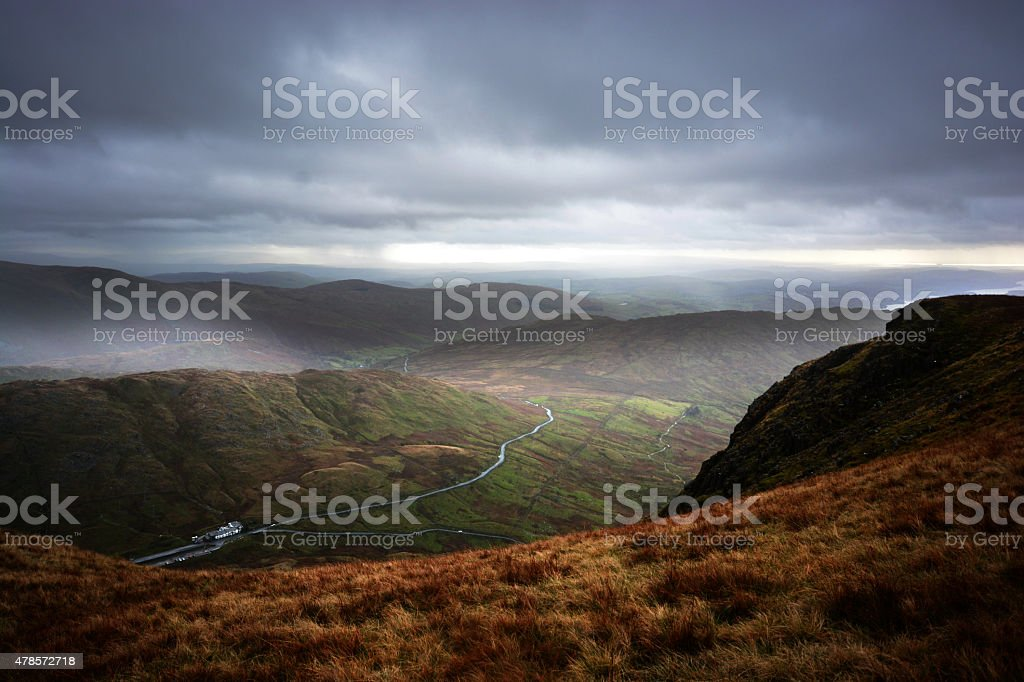 Kirkstone Pass from Red Screes stock photo