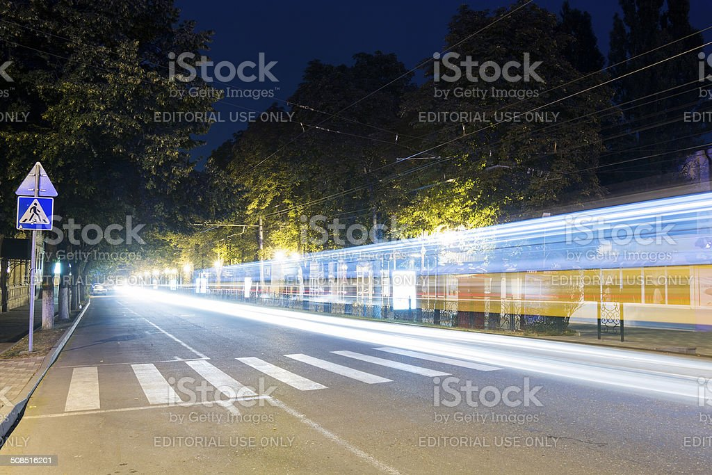Kirov Avenue at night, Pyatigorsk, Russia stock photo