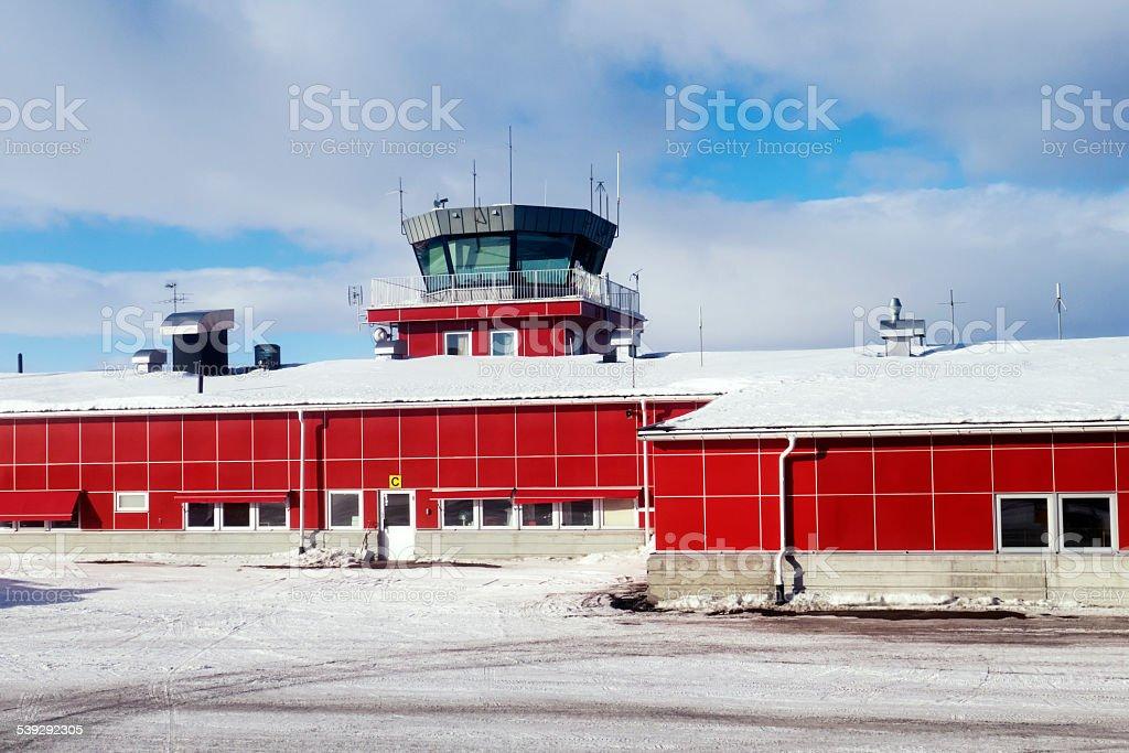 Kiruna Airport in Swedish Lapland in winter stock photo