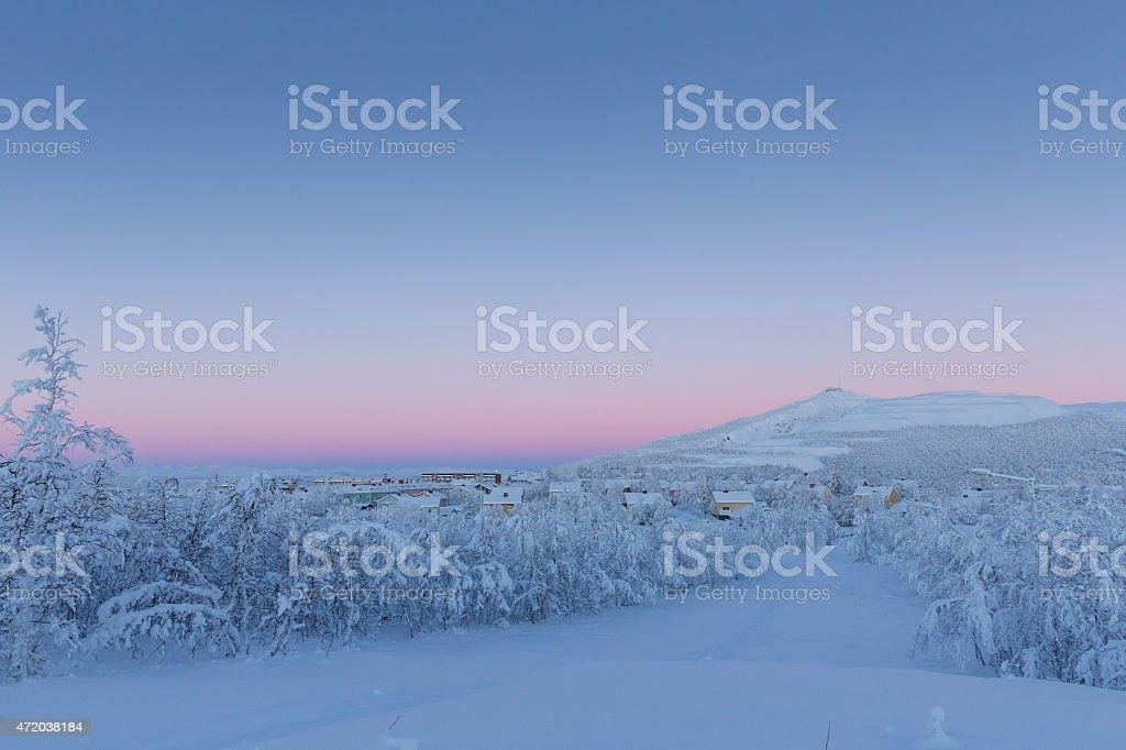 Kiruna Sweden winter snow scene stock photo